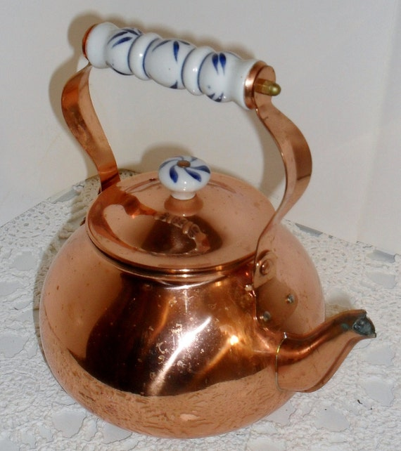Pretty -Vintage ---COPPER Tea  KETTLE--- With Blue and White CERAMIC Accents
