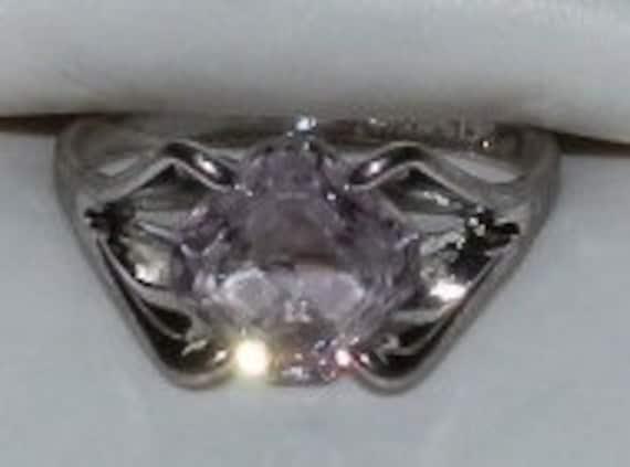 Lovely Vintage  ESPO---Natural  AMETHYST Delicate Square ----Vintage  ESTATE Sterling Ring Size 5