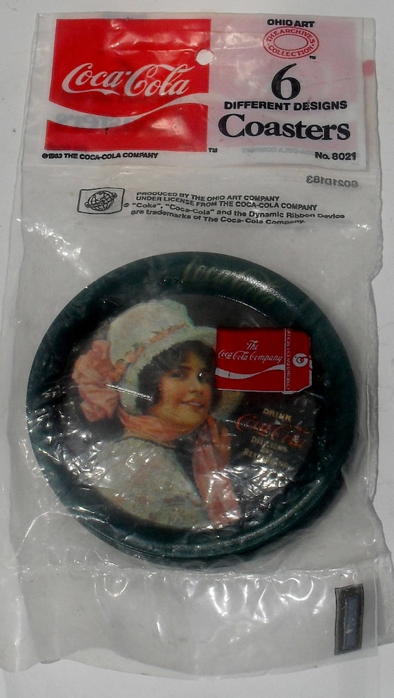 1983 ---Vintage  COCA-COLA Tin Coasters ---- 6 Different Designs---- Coasters 1983 NEW In Package