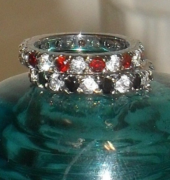 FABULOUS --Set of ETERNITY Bands --Garnet--Cz---Black SAPHIRES ----Size 7---sterling Silver