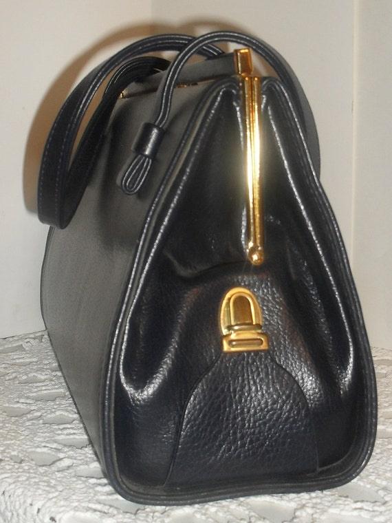 Extremely UNIQUE --Vintage NAVY Blue -LARGE  HandBag--Secret Compartment---For Umbrella