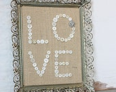 Buttons and Burlap in Vintage Weathered Filigree Frame - Love