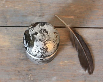 Old Glass Insulator - Silvered Patina - Vintage Industrial Chic