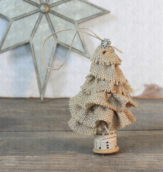 Burlap Tree Ornaments: Items Similar To Vintage Inspired Burlap Christmas Tree