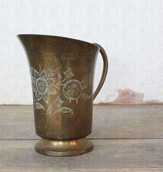 Vintage Brass Floral Etched Pitcher