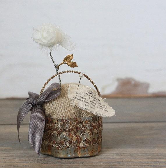 Burlap Inspirational Pin Cushion in a Rusty Silver Basket