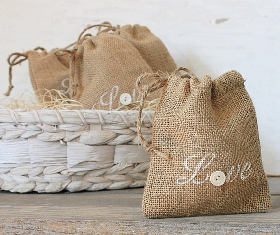 Buttons and Burlap Rustic Charm Wedding Favor Love Sacks Set of Five