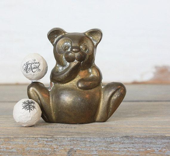 Vintage Wee Brass Panda Bear