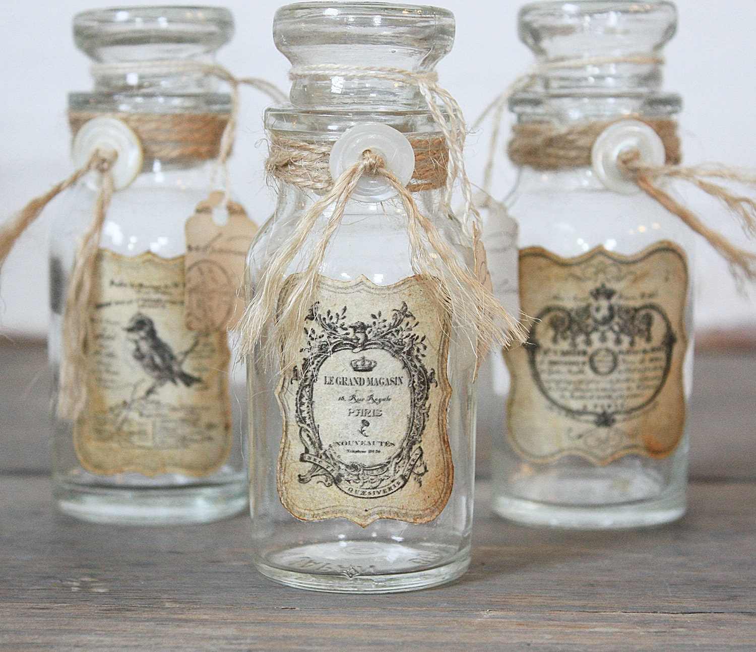 Repurposed vintage bottle rustic french - How to decorate old bottles ...