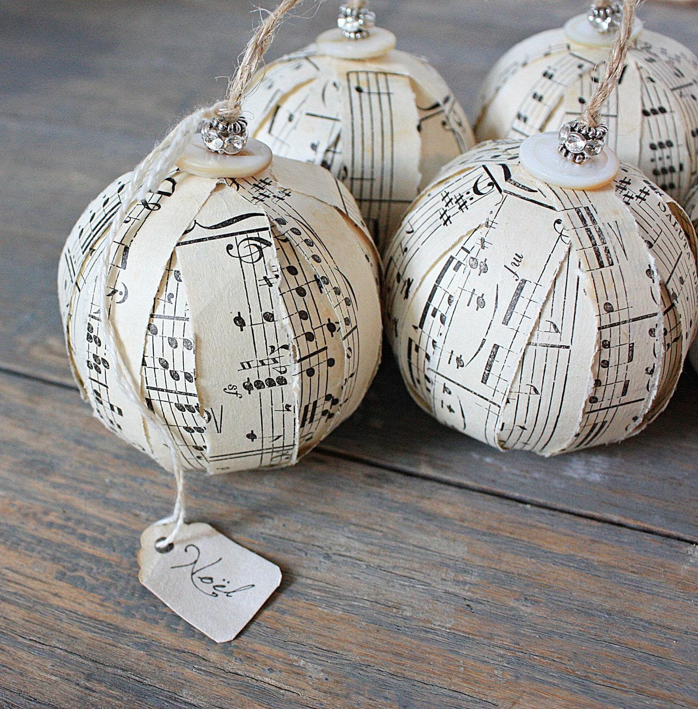 Rustic Rag Ball Ornaments Vintage Sheet Music By