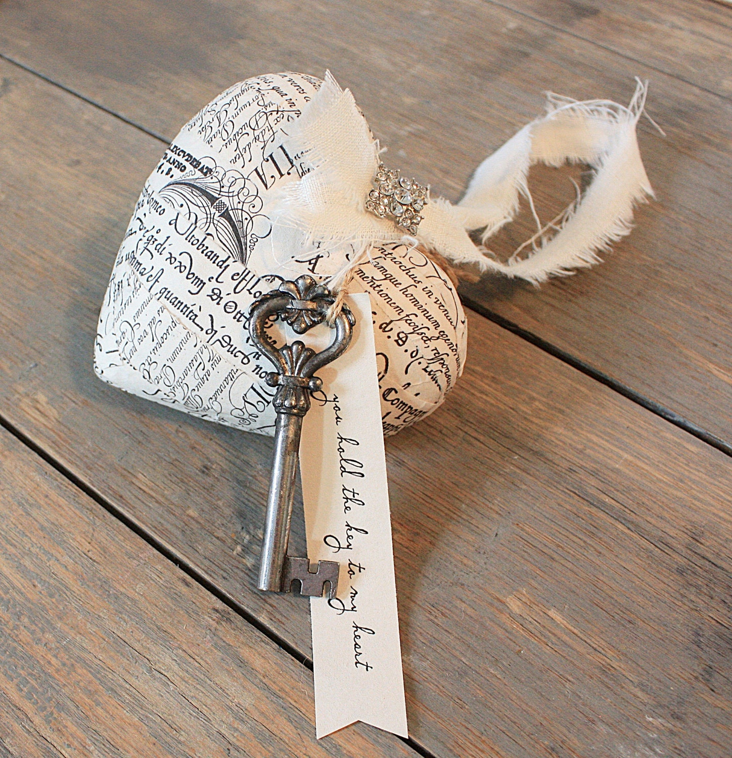 french script paper mache heart and skeleton key