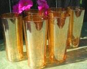 Carnival Glass, Tumblers, Glass Set, Orange/Marigold