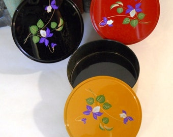 Stackable Vanity Dishs Trinket boxes Lacquer ware Flowers Motif Black Gold Red