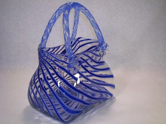 1980s Kitch Hand Blown Glass Vase Purse Swirled Blue