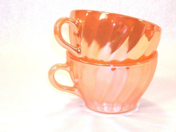 RESERVED (only purchase if you're Nancy)  Termocrisa Peach Lustre set of two Coffee Cups, Vintage 60s/70s