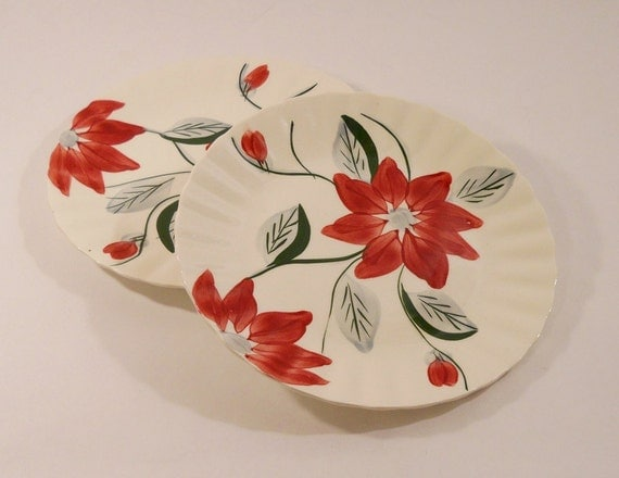 Reserved for Launa)SALE, Blue Ridge, Poinsettia, Dinner Plates, Colonial, Southern Potteries, 1940s, Made in USA