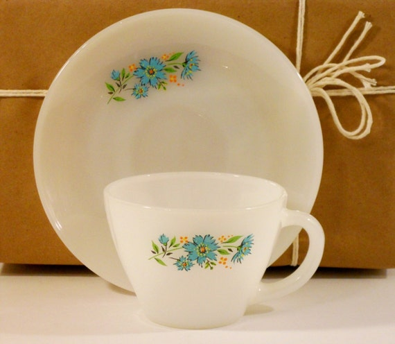 Milk Glass, Cup and Saucer, Fire King, Oven Ware, Premiums
