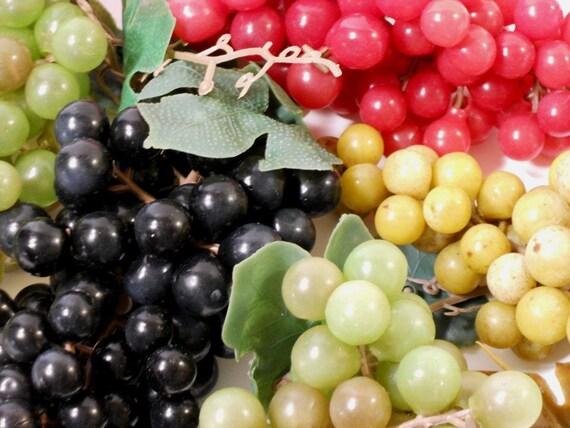 Vintage Grape Clusters, Red, Purple, White, circa 60s