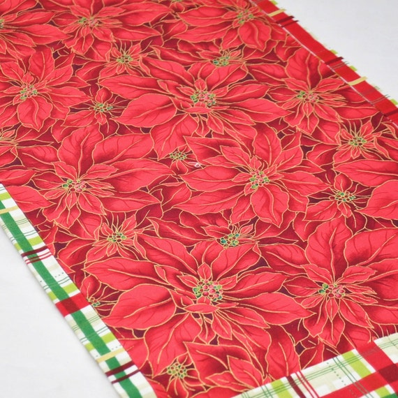 Poinsettia and and Table table  napkins Runner runner Plaid 6   Napkins