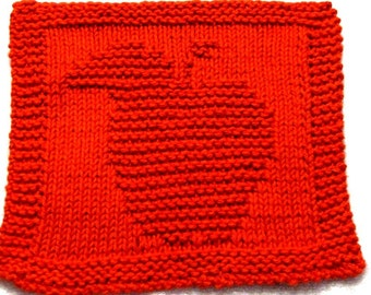 Knitting Cloth Pattern - Delicious Red Apple -  PDF
