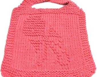 Knitting Pattern ---- BIB featuring a Baby Rattle - PDF