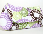 Clutch Purse - Purple Green and Brown Circles (Limited Edition)