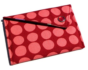 Monogrammed Business Card Case Wallet - Coral Pink and Burgundy Spots (Limited Edition)