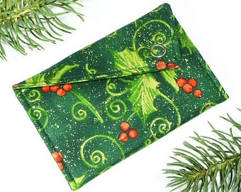 Gift Card Holder - Christmas Scrolling Holly Leaves and Berries