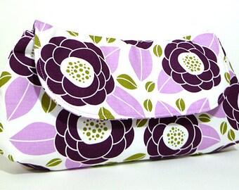 Clutch Purse - Purple Plum Green Flowers Fold Over Clutch, Bridesmaids Gift
