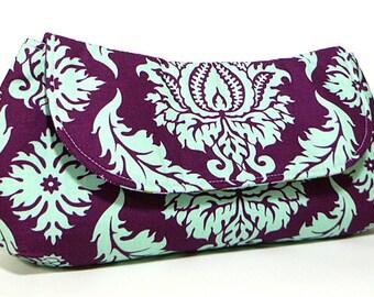 Clutch Purse - Purple Aqua Damask Clutch Bag, Wedding Clutch, Bridesmaids Clutch, Gift For Her