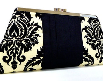 Clutch Purse - Black and Dark Cream Damask, Gifts for Mom