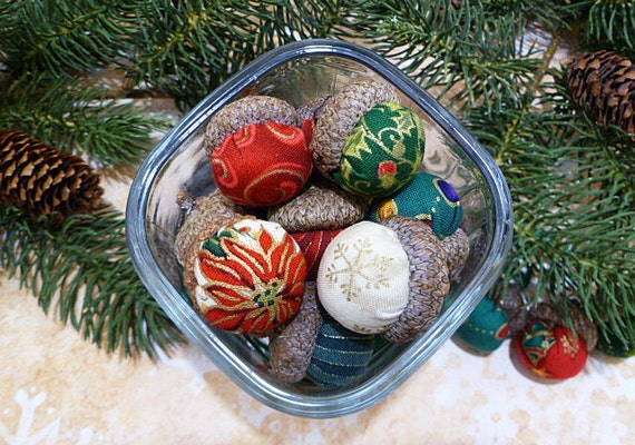 Christmas Acorn Ornaments and Bowl Filler - Set of 20 in Gorgeous Christmas Colors