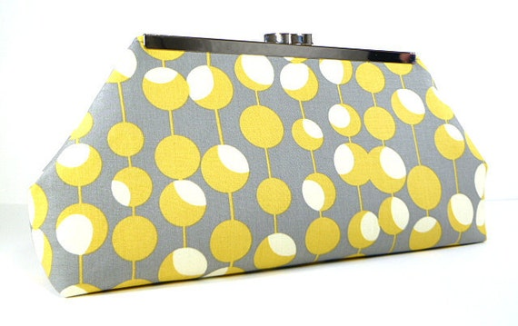 Clutch Purse - Yellow and Gray Circles on Lines
