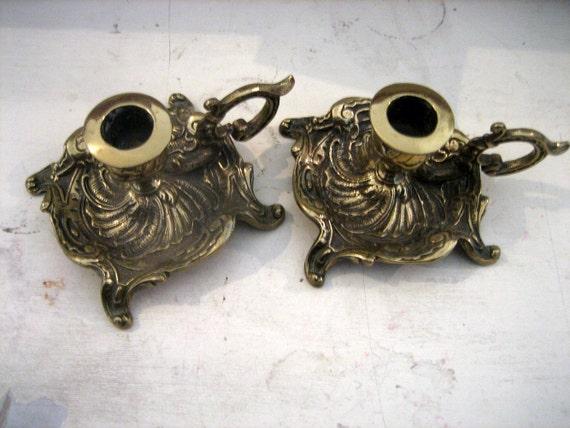Pair  George Johson England Brass Chamber Candlesticks