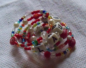 Wrap Bracelet Shades red, clear and faux pearl