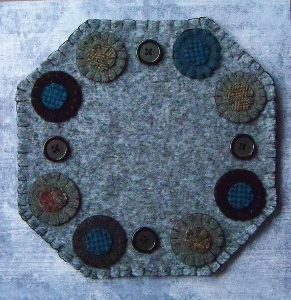 Clearance Primitive Wool Penny Rug Antique Style Heathered