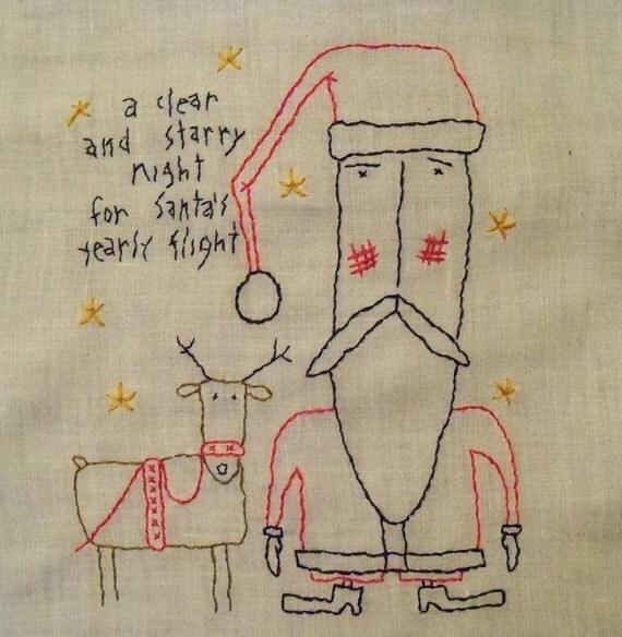 Santa and Reindeer Primitive Simple stitchery on Vintage linen