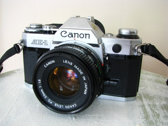 Near Mint Vintage Canon AE-1 Camera with 50mm 1.8 Lens