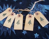 5 Primitive Christmas Hang Tags Christmas Trees No Charge Shipping