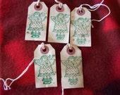 Angel with Birds Green Primitive Handmade Hang Tags