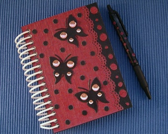 Notebook  Wine Red with Butterflies