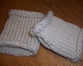 Hand Knitted Fingerless Texting Gloves Wrist Warmers Winter White Wool - Ready To Ship
