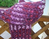 RESERVED for SpinWithin Hand Knitted Scarf Merino Valentines Day Raspberry Wine OOAK - Ready To Ship