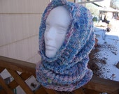 Knitted Hooded Cowl Neckwarmer Merino Lady of the Lake OOAK - Ready to Ship