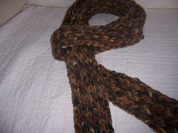 Knitted Brown Scarf for Men or Women Multicolor Browns Wool - Ready To Ship