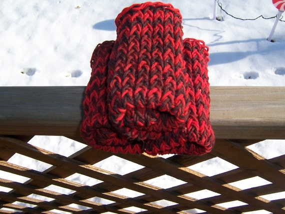 Knitted Dishcloths Washcloths Cotton Blood Red Sangria Goth - Ready to Ship