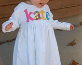 Toddler Dress Personalized with Name - You Choose Dress Color and Sleeve Length
