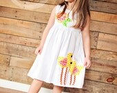 Easter Applique Dress - Spring Dress - You Choose Dress Color and Sleeve Length