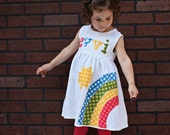 Rainbow Dress - Spring Dress- Personalized Dress- You Choose Dress Color and Sleeve Length
