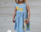 Toddler Summer Dress - Beach Dress - Seahorse and Starfish Applique- You Choose Dress Color and Sleeve Length